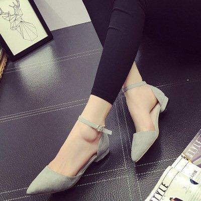yalanshop Raue Schuhe, Sandalen, scharfe Tipps, Flach, Mattierte Studenten, Baotou  Siebenunddrei?ig|Flat heel grey 2CM