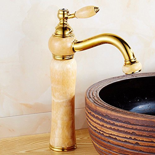 AWXJX Sink Taps European style copper Seated Hot and cold jade Golden ceramics Wash your facePots