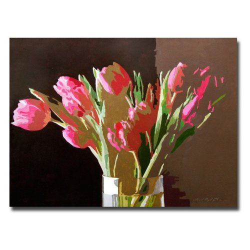 Pink Tulips In Glass by David Lloyd Glover, 24x32-Inch Canvas Wall Art