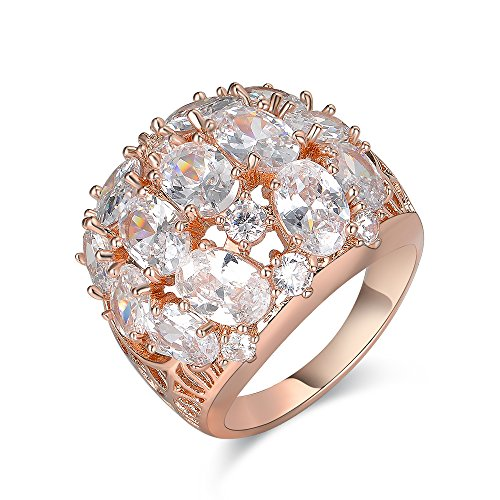 Rose Gold Coloured Costumes Jewellery - Aprilery Rose Gold Cocktail Dome Rings