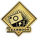 PinMart Black and Gold Yearbook Student School Teacher Lapel Pin