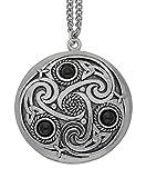 Handmade Celtic Triskele 3 Black Onyx Gemstones Pewter Chain Pendant