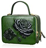 PIJUSHI Women's Designer Rose Top Handle Satchel Cross Body Handbags 65440 (One Size, New Green)