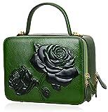 PIJUSHI Designer Floral Handbags For Women Top Handle Satchel Bags Crossbody Handbag (65440 New Green)