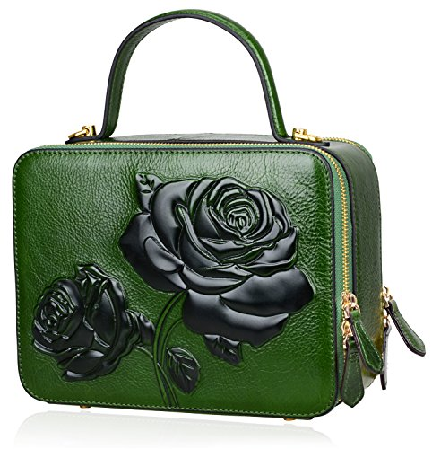 PIJUSHI Women's Designer Rose Top Handle Satchel Cross Body Handbags 65440 (One Size, New Green) by PIJUSHI