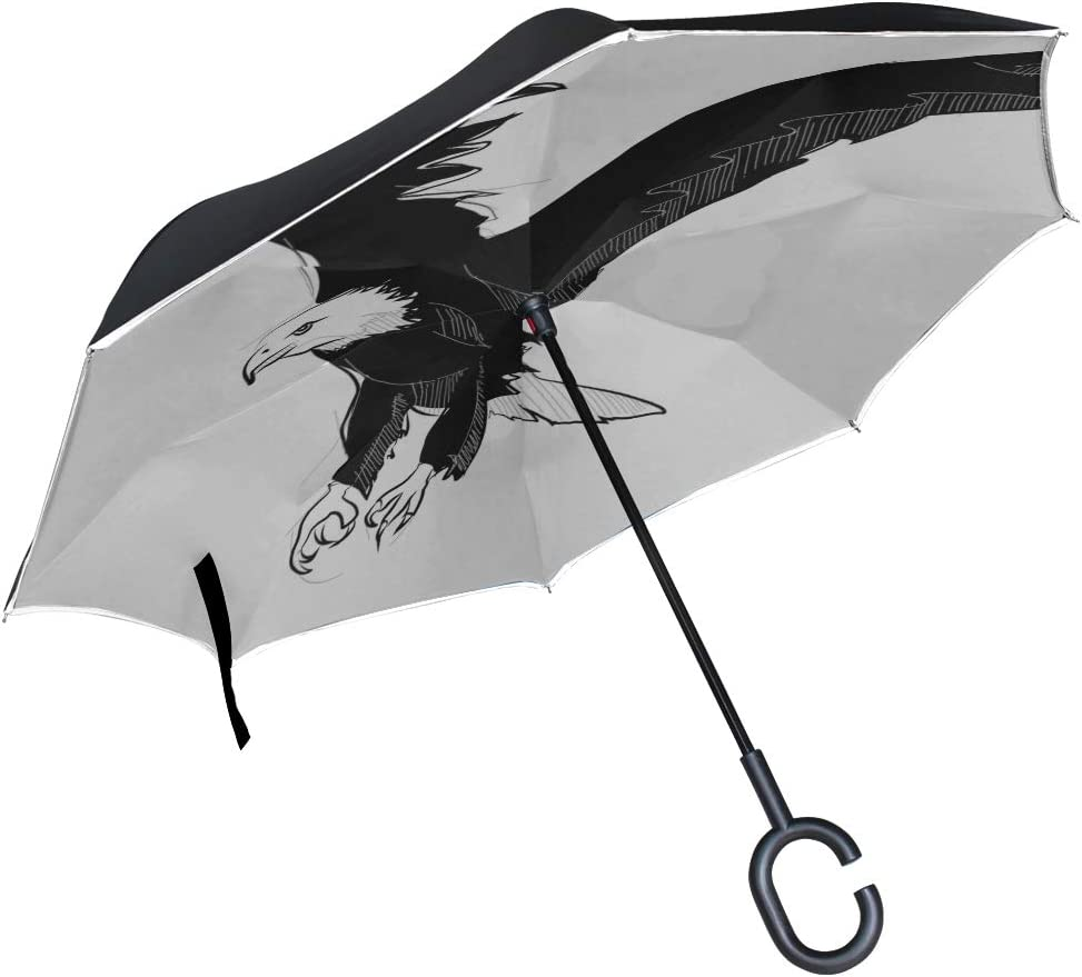 Double Layer Inverted Inverted Umbrella Is Light And Sturdy Sketch Style Drawing Flying Bald Reverse Umbrella And Windproof Umbrella Edge Night Refle