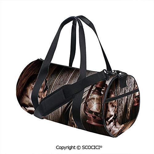 Unisex Cylinder Sports Bag,Dallas Cowboys and Lantern on a Bench in Vintage Ranch Nostalgic Folkloric PrintSports and Fitness Essentials,(17.6 x 9 x 9 in) Brown