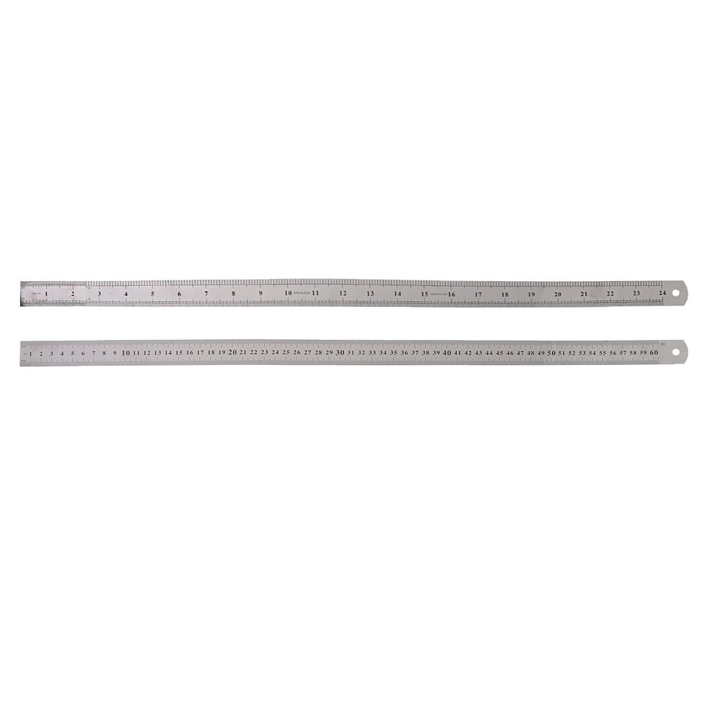 Fucung 1pcs 60cm Silver Stainless Steel Double Side Measuring Straight Edge Ruler, Silver Stainless Mesure Ruler
