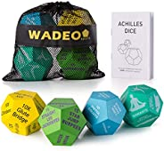 WADEO Exercise Dice, Workout Dice with 36 HIIT Workouts and 12 Yoga Stretch Training, 4-Pack Fitness Dice for