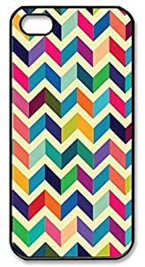 iPhone 5 5S Case, iCustomonline Colorful Chevron Pattern Designs Case for iPhone 5 5S Black