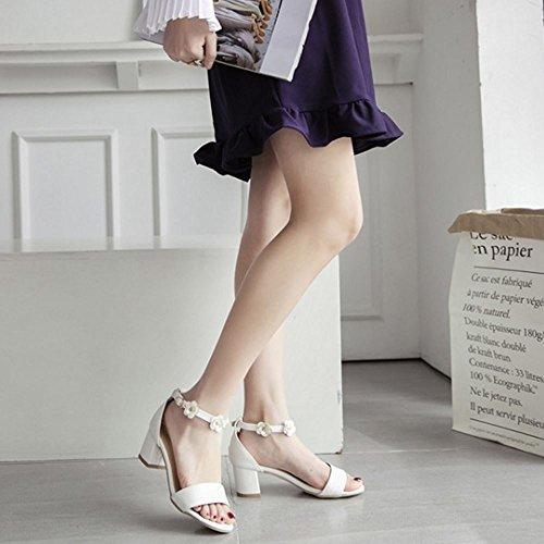 FANIMILA Mujer Moda Ankle Strap Sandalias Punta Abierta Tacon Ancho Zapatos Flors Blanco