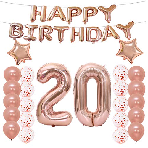 20th Birthday Decorations Party Supplies, 20th Birthday Balloons Rose Gold, Number 20 Mylar Balloon, Latex Balloon Decoration, Great Sweet 20th Birthday for Girls, Photo Props