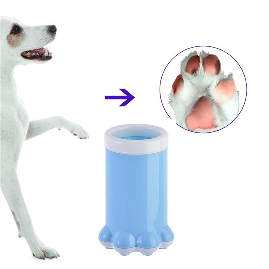 NSST Dog Paw Cleaner, Portable Soft Silicone Brush Cleaner for Preventing Dirt/Mud Paw Prints from Your Car, House and Furniture,Blue