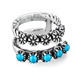 Sterling Silver Turquoise Double Flower Band Ring