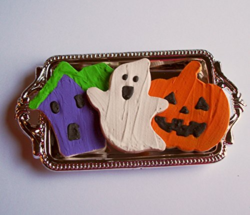 Pumpkin Ghost Haunted House Iced Sugar Cookies Halloween Playset with Silver Platter Perfect for 18 Inch American Girl® -