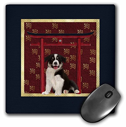 (3dRose Beverly Turner Chinese New Year Design - Border Collie, Red Asian Arch, Scattered Sign of the Dog, Gold - MousePad (mp_262872_1))