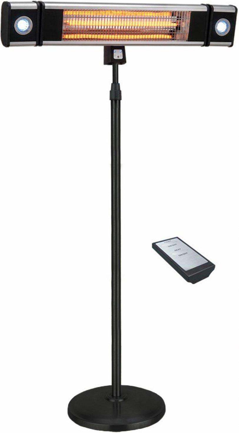 Ener-G+ interior/al aire libre calentador eléctrico de pie para terraza con luz LED y mando a distancia, color negro: Amazon.es: Jardín