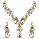 BriLove Gold-Toned Jewelry Set Wedding Bridal Women's Statement Necklace Dangle Earrings Set with Crystal Multi Teardrop Cluster Champagne