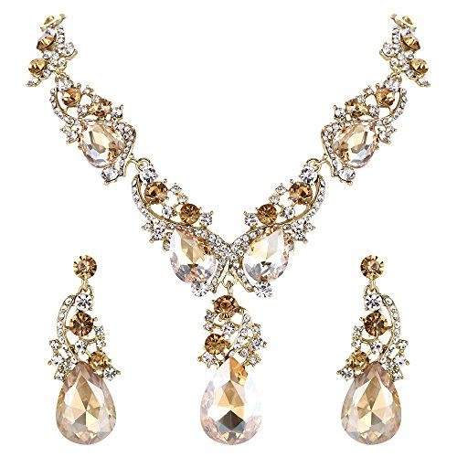 BriLove Wedding Bridal Necklace Earrings Jewelry Set for Women Multi Teardrop Cluster Crystal Statement Necklace Dangle Earrings Set Champagne Gold-Toned ()