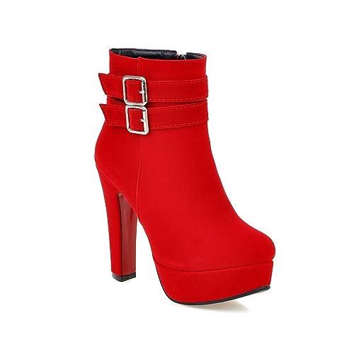 4694b326c0655 Damen Plateau Stiefeletten Absatz Ankle Boots Herbst Winter Kurz Stiefel  Wildleder High Heels Schuhe mit Reißverschluss
