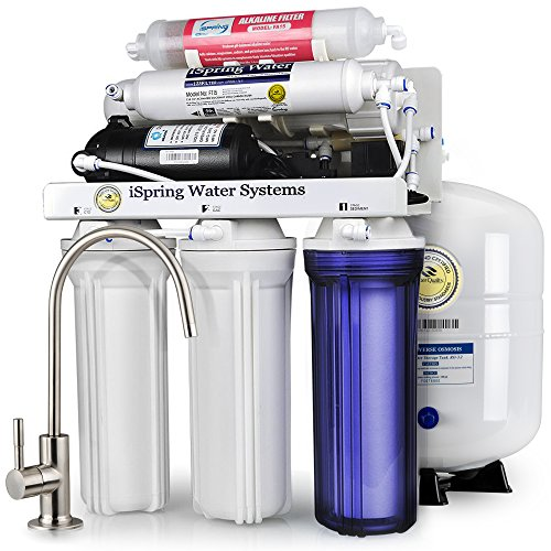 Reverse Osmosis Water Softeners - iSpring RCC7P-AK High Capacity, Boosted Performance Under Sink 6-Stage Reverse Osmosis Drinking Water Filtration System and Ultimate Water Softener with Alkaline Remineralization and Pump - WQA Gold Seal Certified
