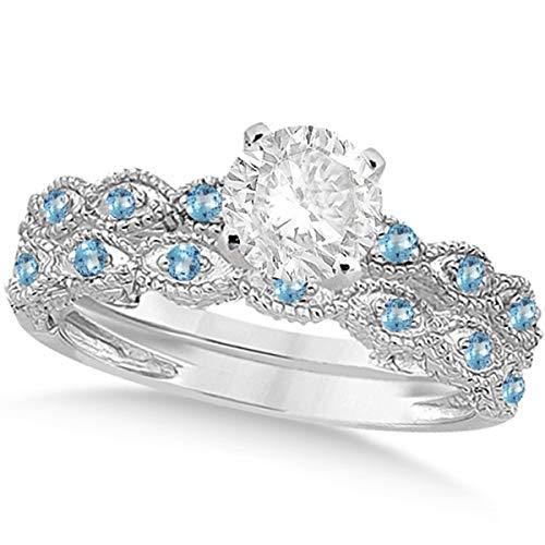 Vintage Diamond and Blue Topaz Engagement Ring and Wedding Band Bridal Set Platinum 1.70ct