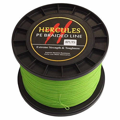- HERCULES 1500m 1640yds Fluorescent Green 10lbs-300lbs Pe Braid Fishing Line 8 Strands (150lb/68kg 0.62mm)