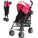 Costzon Lightweight Stroller, Baby Umbrella Convenience Stroller, Travel Foldable Design with Sun Canopy/ 5-Point Harness/Storage Basket (Pink)