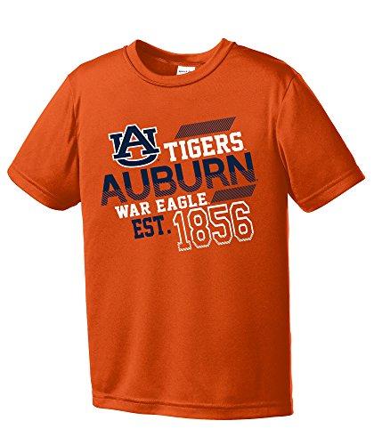 Auburn Kids Shirt - NCAA Auburn Tigers Youth Boys Offsides Short sleeve Polyester Competitor T-Shirt, Youth Medium,Orange