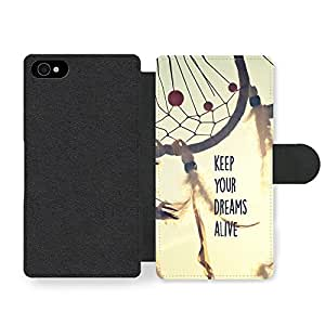 Keep Your Dreams Alive Quote on Cool Dream catcher Indie Hipster Design Faux Leather case for iPhone 4 4S