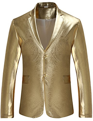 ZEROYAA Mens Hipster Geek Metallic Shinny Solid Paisley Floral Slim Fit Single Breasted Blazer Jacket Z45 Gold Large (Sport Breasted Single Coat)