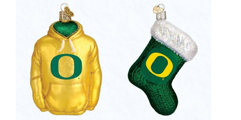 Old World Christmas Universary of Oregon Hoodie and Oregon State Stocking Set of Glass Blown Ornaments by