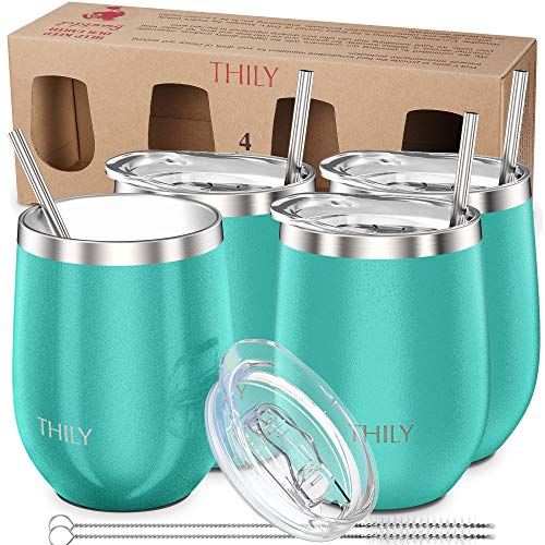 Stainless Steel Stemless Wine Glasses - THILY Triple Vacuum Insulated Cute Travel Tumbler Cup with Spill-Proof Lid, Reusable Straw, Keep Cold & Hot for Wine, Coffee, Birthday Xmas Gift, 4 Pack, Teal