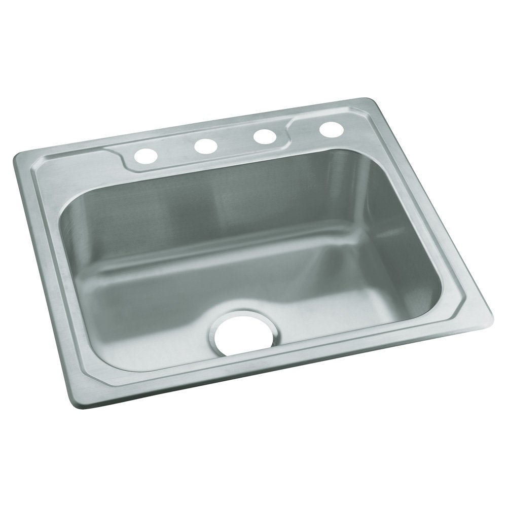 STERLING 14631-4-NA Middleton 25-inch by 22-inch Top-mount Single Bowl Kitchen Sink, Stainless Steel