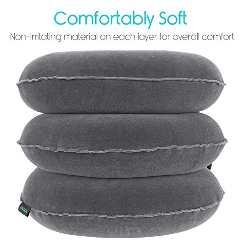 Cervical Neck Traction Pillow by Vive - Inflatable Home Pillow Stretcher Device Unit for Chiropractic Back Pain Relief, Spine Support & Posture - Adjustable Air Pump System for Travel & Stiff Neck by VIVE (Image #3)