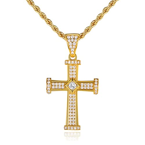 494606b084aaf OPALTOP CZ Cross Pendant Necklace Yellow Gold Plated Religious Gift for Men  Women 19.5