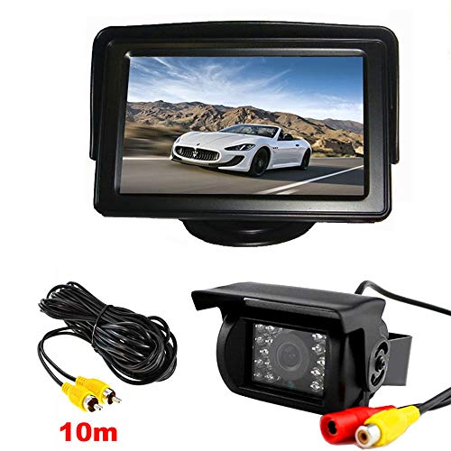 Vehicle Backup Camera Kit 18 LED IR Night Vision Waterproof Car Reverse Rear View Mirror Camera + 4.3