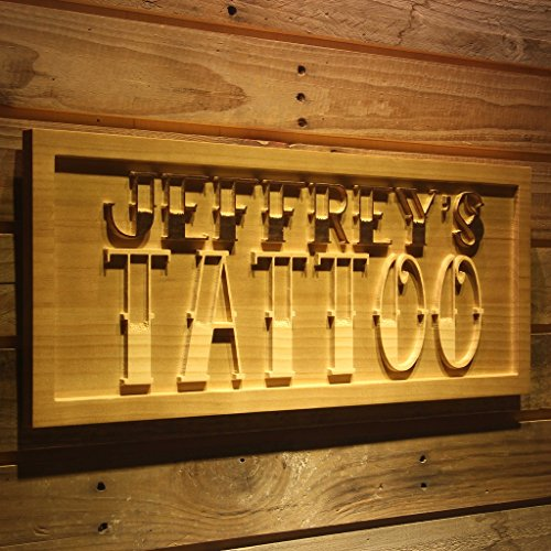 wpa0176 Name Personalized TATTOO Shop Display Wood Engraved Wooden (Tattoo Shop)