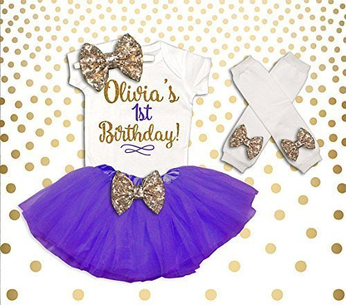39b47cfc Amazon.com: Personalized 1st Birthday Shirt First Birthday Girl Outfit 1st Birthday  Tutu Set Cake Smash Outfit Purple Gold First Birthday Outfit: Handmade