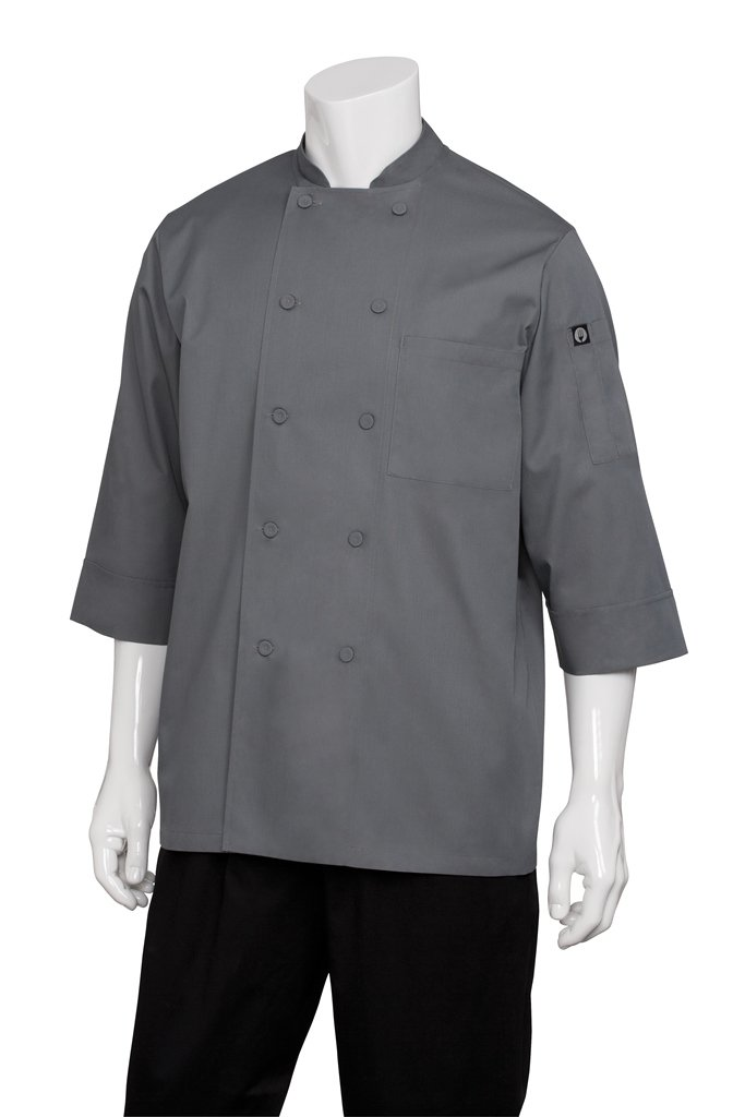 Chef Works Mens Morocco Short Sleeve Chef Coat, Grey, SMALL