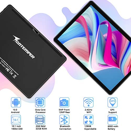Tablet 10 Inch, Android 10 Octa core 1920x1200 FHD Touchscreen Tablets with 13 MP Rear &5MP Front, 6000mAh Battery, 32GB ROM 128GB Expand Storage,Bluetooth/GPS/FM/OTG/Google Certified(Black)
