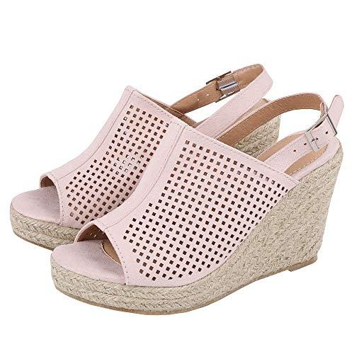 LAICIGO Womens Platform Espadrille Wedges Peep Toe High Heel Sandals with Ankle Strap Buckle Up