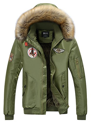 Winter Military Men's Coat Hooded Patch Waterproof Padded YYZYY Polyester Parka Force Thicker Outdoor Green Bomber Warm Jacket Flight Air 58Wnqzdq
