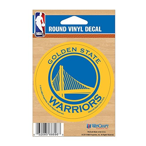 - WinCraft NBA Golden State Warriors WCR66696010 Round Vinyl Decal, 3