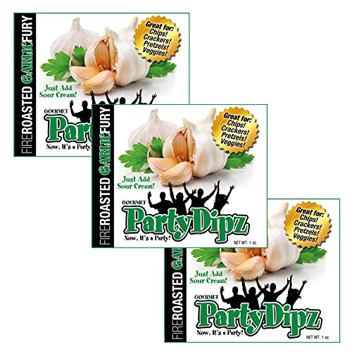 NEW ITEM: 3-Pak PartyDipz Fire-Roasted Garlic Fury Gourmet Dip Mix Packets Dips For Chips Dips For Spreads Bacon Dip Cheddar Dip Great Gift Idea