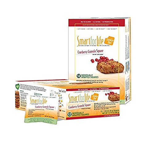 Smart for Life Cookie Diet Meal Replacements, Cranberry Granola Squares, 1.05 oz cookie - 12-count