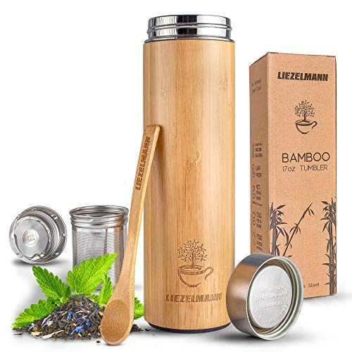 (Bamboo Travel Tumbler Tea Infuser- 17oz Stainless Steel Thermos & Strainer, Mug for Hot/Cold Brew Coffee, Vacuum Insulated Bottle, Mesh filter for loose leaf, Fruit Infused Water)