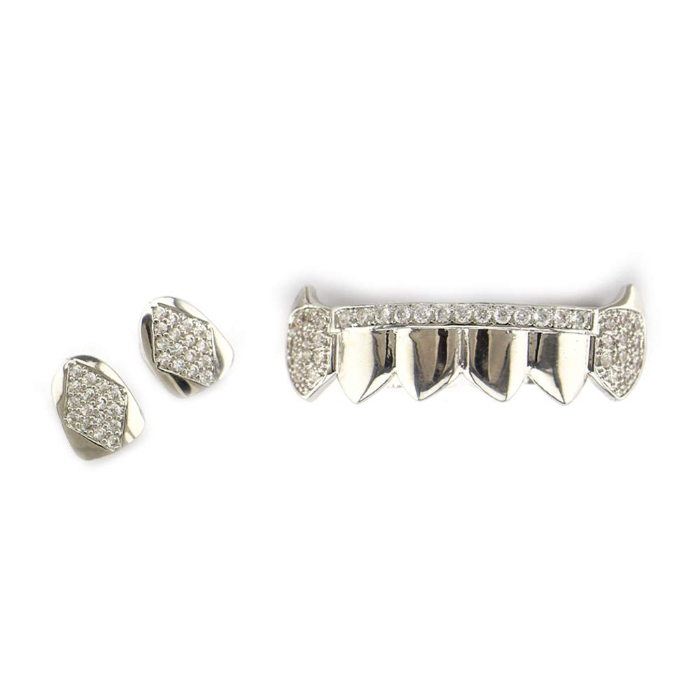 Cigkany Teeth Grills Gold Grill Teeth Set Best Gift Gold Plating Grillx - Excellent Cut for All Types of Teeth - Top and Bottom Grill Set - Hip Hop Bling Grill (Color : Silver) by Cigkany