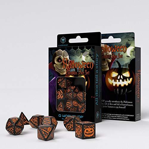 Halloween Pumpkin Dice Set Black & Orange by Q WORKSHOP