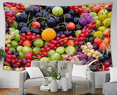 Anucky Tapestry Wall Hanging, Tapestries Polyester Fabric for Home Decoration, Assortment Ripe Fresh Seasonal Organic Fruits Berries Colourful Dorm Décor and Bedroom 80x60 inch Huge Tapestry - Small Seasonal Assorted Basket Fruit